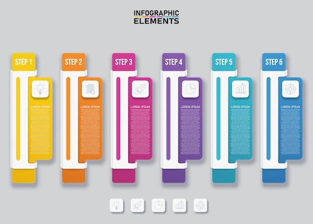 Plantilla de elementos de infografía colorida.
