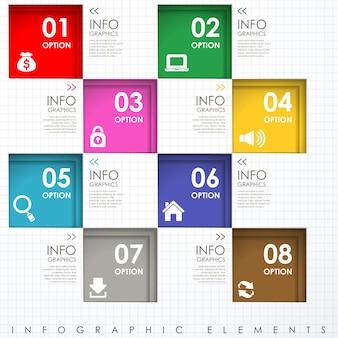 Plantilla de elementos de infografía de cuadrados de papel colorido abstracto