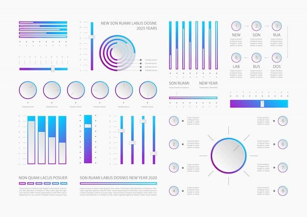 Plantilla de elementos de infografía dashboard realista