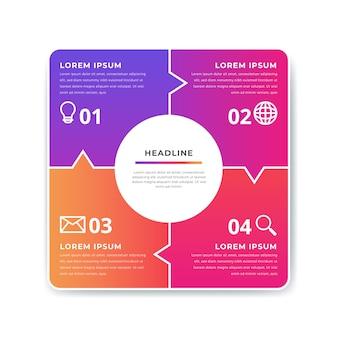 Plantilla de elementos de infografía degradado colorido