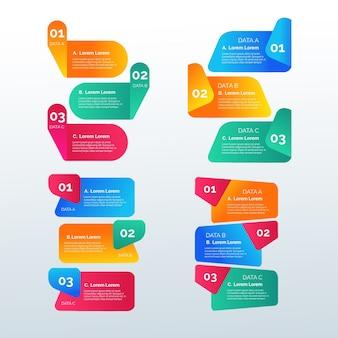 Plantilla de elementos de infografía gradiente