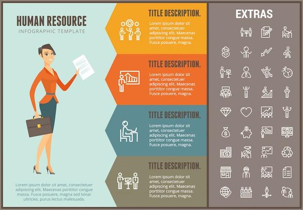 Plantilla y elementos de infografía de recursos humanos