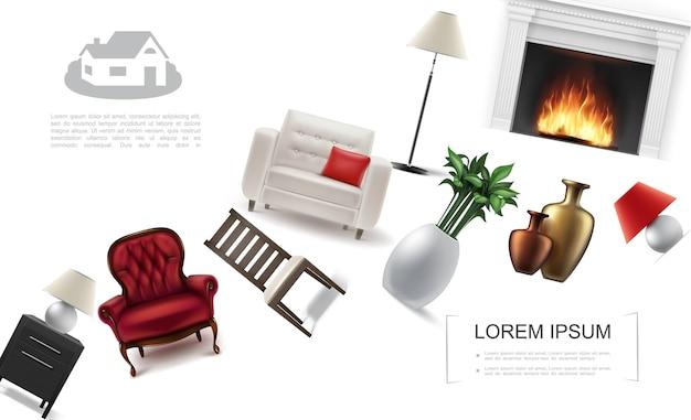 Plantilla de elementos interiores clásicos realistas con sillones planta de interior chimenea luz de noche silla mesita de noche lámpara de pie jarrones de cerámica