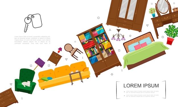 Plantilla de elementos interiores de sala de estar plana