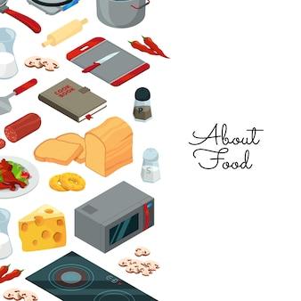 Plantilla de elementos isométricos de alimentos de cocina