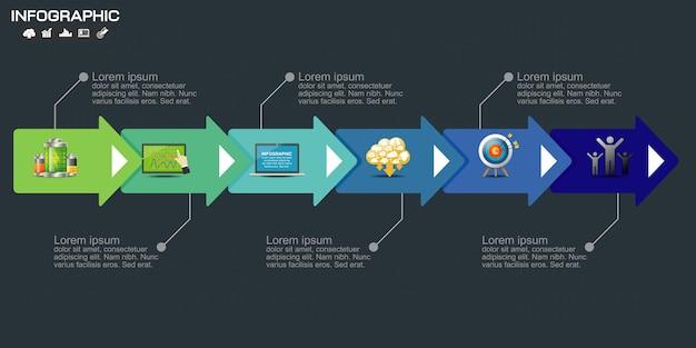 Plantilla de elementos de negocio infografía.