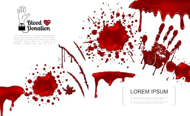 Plantilla de elementos sangrientos realistas con salpicaduras de sangre, salpicaduras, manchas, goteos e ilustración de huellas de manos,