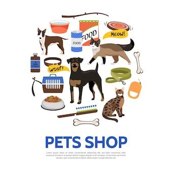 Plantilla de elementos de tienda de mascotas en estilo plano