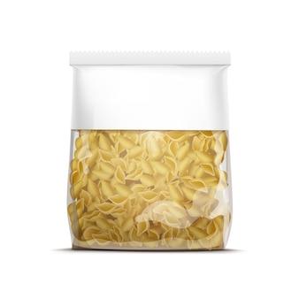 Plantilla de embalaje de conchas de pasta de vector aislado