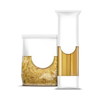 Plantilla de embalaje de pasta de espagueti y conchas