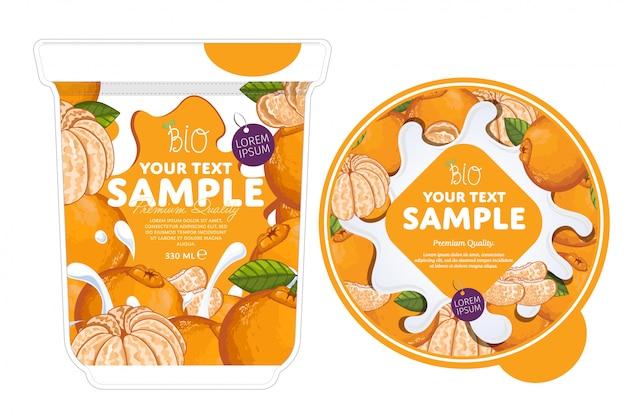 Plantilla de embalaje de yogur de mandarina.