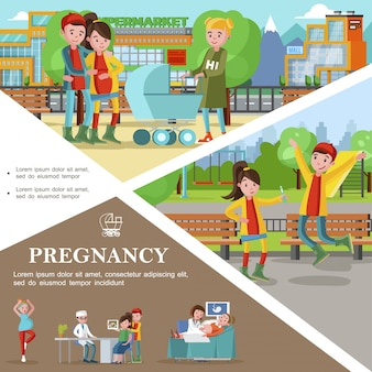 Plantilla de embarazo plana con reunión de padres presentes y futuros hombre aprendiendo sobre su esposa control médico del embarazo para la salud de las mujeres embarazadas