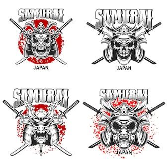 Plantilla de emblema con casco de samurai y katanas cruzadas sobre fondo grunge