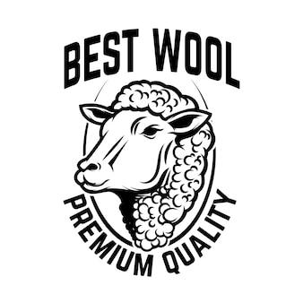 Plantilla de emblema de fábrica de lana de oveja.