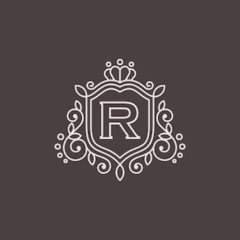 Plantilla de emblema heráldico de lujo