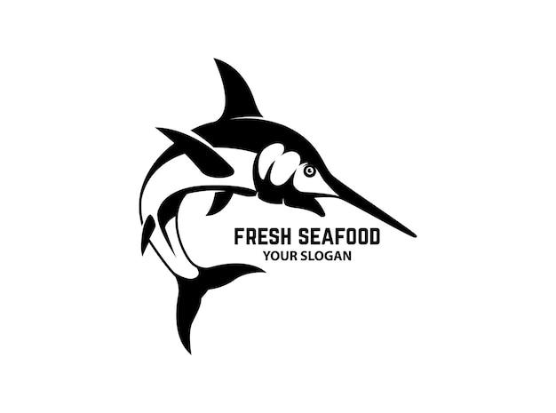 Plantilla de emblema con ilustración de pez espada