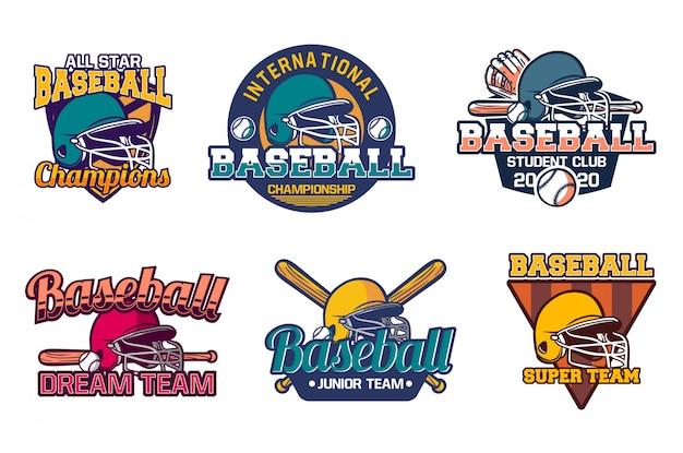 Plantilla de emblema de insignia de béisbol vintage campeones de todas las estrellas
