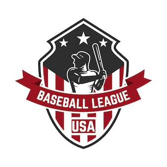 Plantilla de emblema con jugador de béisbol. elemento para logotipo, etiqueta, emblema, signo. ilustración