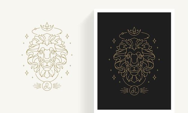 Plantilla de emblema de leo del zodiaco de la astrología lineal elegante decorativa creativa para el logotipo