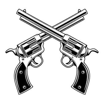 Plantilla de emblema con revólveres cruzados. elemento para logotipo, etiqueta, emblema, signo. ilustración