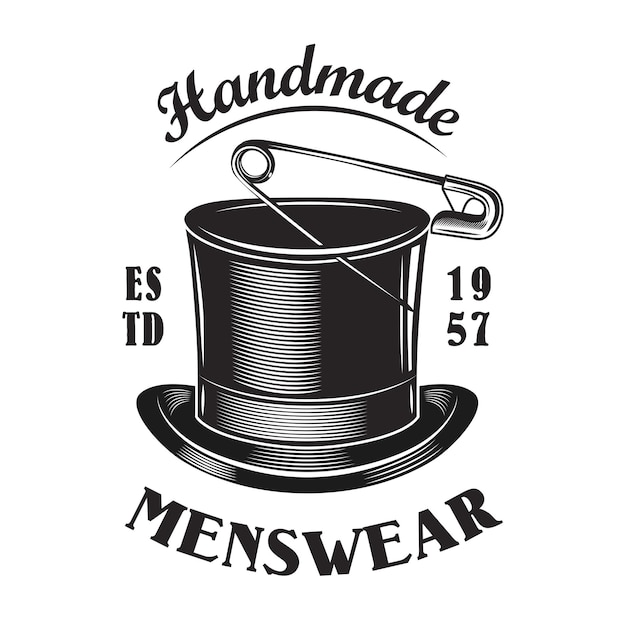 Plantilla de emblema de sombrero de copa masculino hecho a mano