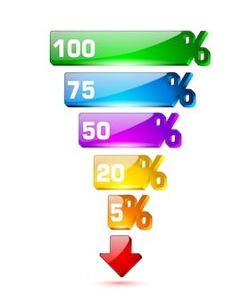 Plantilla de embudo de ventas brillante. ilustración de porcentaje de cinco pasos