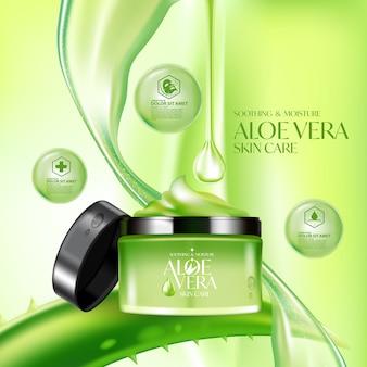 Plantilla de empaquetado cosmético para el cuidado de la piel con crema de aloe