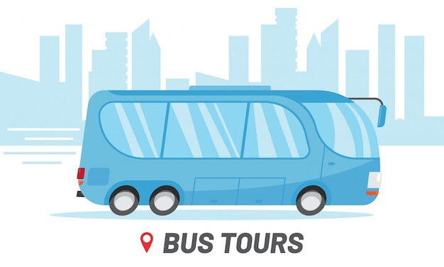 Plantilla de empresa de viajes de viajes en autobús. montar en autobús en la ilustración de la ciudad