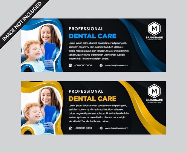 Plantilla de encabezado y banner de atención dental