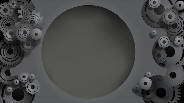 Plantilla de engranajes y engranajes negros 3d realistas con copyspace medio
