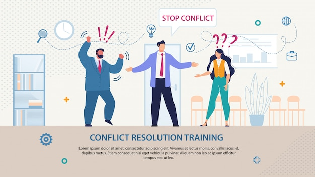 Plantilla de entrenamiento de resolución de conflictos escrita de flyer brillante