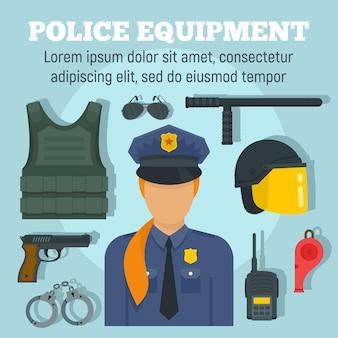 Plantilla de equipo de arma de policía, estilo plano.