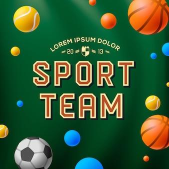 Plantilla de equipo deportivo, póster, folleto, ilustración