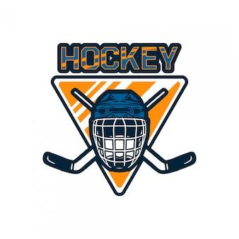 Plantilla de equipo de insignia de logotipo de hockey con casco y palo