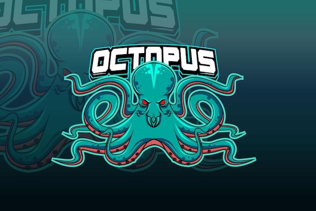 Plantilla de equipo de logo de octopus esport