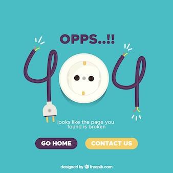 Plantilla de error 404 en estilo plano