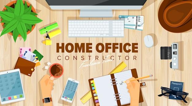 Plantilla de escritorio de oficina en casa