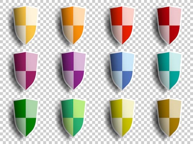 Plantilla de escudo en estilo de corte de papel en transparente