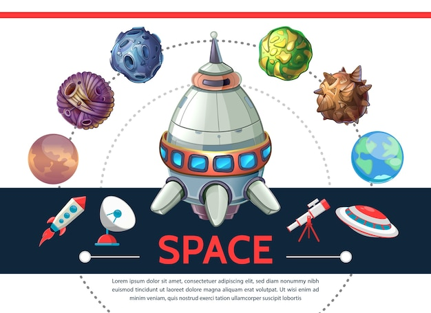 Plantilla de espacio colorido de dibujos animados con lanzadera cohete asteroides planetas ovni antena parabólica telescopio