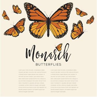 Plantilla de espacio de copia de mariposas monarca