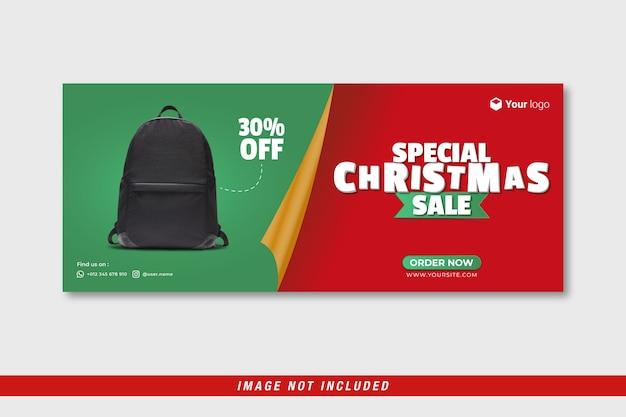Plantilla especial de banner de portada de facebook de venta de navidad