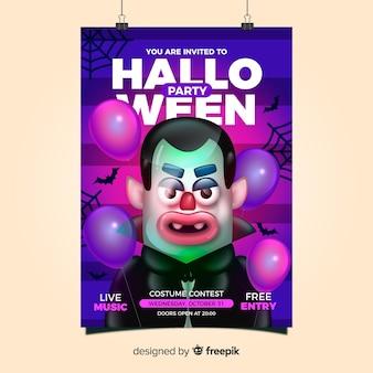 Plantilla espeluznante de póster de fiesta de halloween con diseño realista