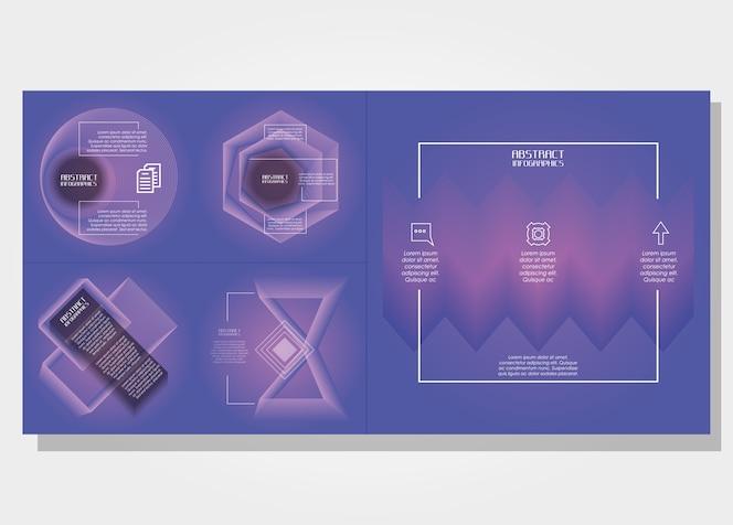 Plantilla establece infografía con figuras geométricas