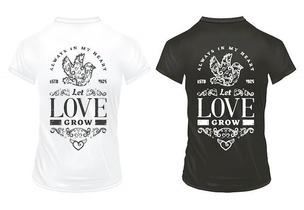 Plantilla de estampados amorosos vintage en camisas con inscripciones románticas, elementos de decoración elegantes