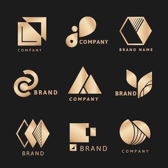 Plantilla estética de logotipo empresarial dorado, conjunto de vectores de diseño de marca profesional
