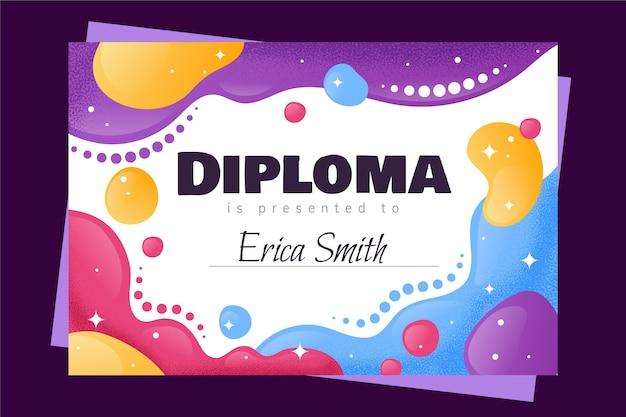 Plantilla de estilo de diploma para niños