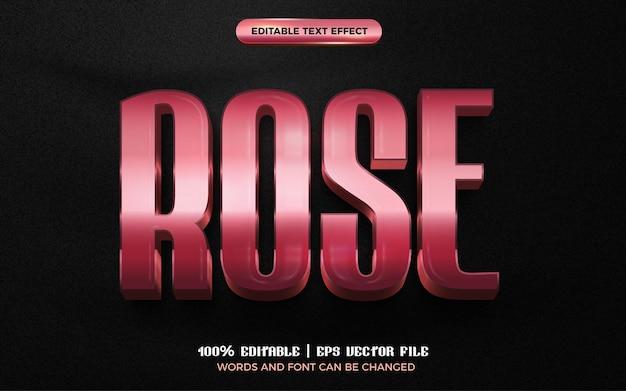 Plantilla de estilo de efecto de texto editable 3d brillante de oro rosa