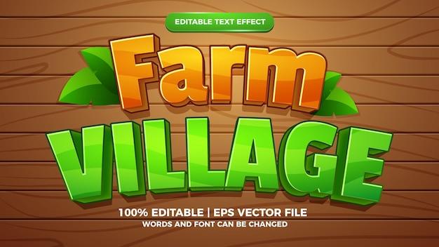 Plantilla de estilo de efecto de texto editable de juego de cómic de dibujos animados de pueblo de granja