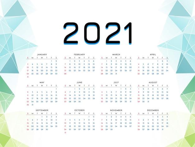 Plantilla de estilo geométrico de diseño de calendario de año nuevo 2021