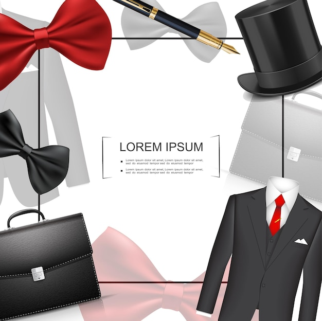 Plantilla de estilo de hombre de negocios realista con marco para maletín de texto traje clásico pluma cilindro sombrero rojo y negro pajaritas ilustración,